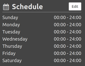 Configuration manage schedule sidebar section