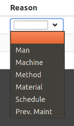 Excessive downtime report reason dropdown