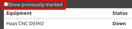 Excessive downtime report show previously marked checkbox