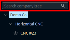 Left sidebar company tree search box