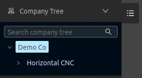 Configuration company selected in company tree