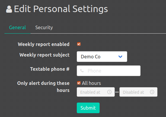 Configuration personal settings